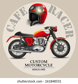 Cafe racer style motorbike with helmet on a white background. Vector illustration