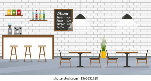 Cafe, restaurant or cafeteria interior design with bar counter, tables and chairs. Bar inside with brick wall and menu board. Vector illustration.
