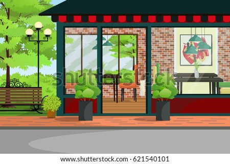 Superior Cafe, Restaurant, Coffee Shop Building With Green Garden.Restaurant  Interior And Exterior Design
