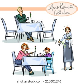 cafe and Restaurant Collection (new edition) - hand drawn scenes . Set 4