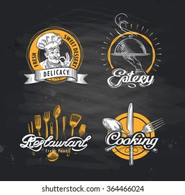 Cafe, restaurant, eatery vector logo design template. Menu, food or cooking, cuisine icons