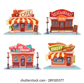 Cafe, restaurant, ice-cream shop and bakery. Vector set. Illustration.