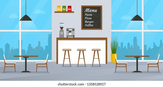 Cafe or restaurant interior design with bar counter, tables and chairs. Cafeteria inside with window and menu board. Vector illustration.