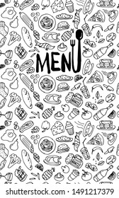 Cafe restaurant menu cover design template. Title page with hand drawn food doodle outline colored sketch pattern on white background. Vector cooking element illustration