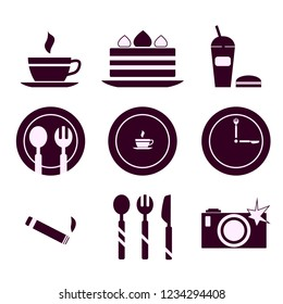 Cafe and restaurant: set of 9 color icons for decoration and design. Coffee, cake, drink, Burger, plate, fork, spoon, knife, camera, cigarette