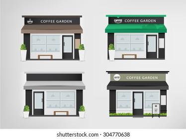 Cafe restaurant shop and bakery. Vector set