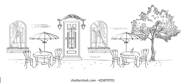 Cafe, restaurant, street cafe with umbrellas, the door under the canopy with lights, windows and wood. Drawing calligraphic pen tool.