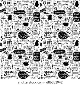 Cafe seamless pattern. Hand drawn tea and coffee pots, desserts and inspirational captions. Menu cover design, wallpaper stencil. Black and white typography background