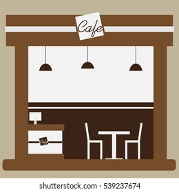 Cafe and shop facade, storefront vector flat design