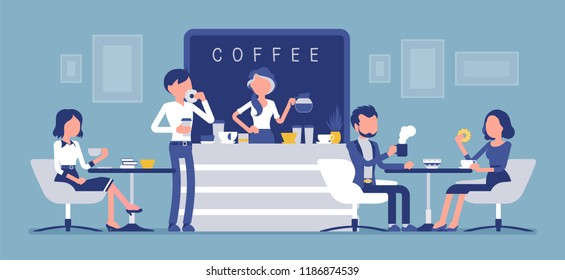 Cafe shop and people relaxing. Modern place interior to meet, drink and eat, chat, have a rest, enjoy free time, barista girl makes coffee for public. Vector illustration with faceless characters