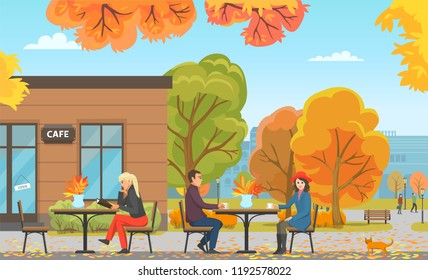 Cafe with tables and people, customers drinking coffee or warm tea. Clients male and female with cup, person reading menu ready to make order vector