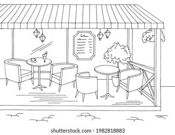 Cafe terrace interior graphic black white sketch illustration vector