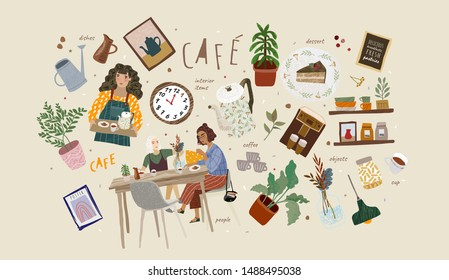 Cafe. Vector illustrations and objects on the theme of the restaurant: people eat breakfast at the table, the waiter with a tray, coffee, kettle, home decoration, dishes, menus.