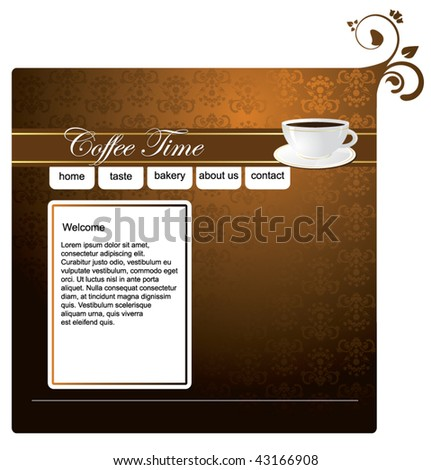 cafe website template stock vector royalty free 43166908