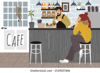 Cafe.Girl drinks coffee at the bar counter in a trendy coffee house and barista brews a hot drink in the interior. Freehand of Vector cute illustration in flat style for banners and posters