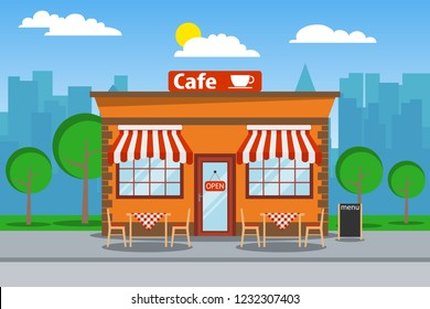 Cafeteria, cafeteria building with free tables. Cafeteria on the background of the urban landscape. Vector illustration of a beach umbrella.