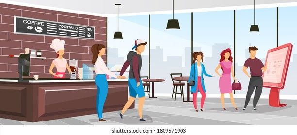 Cafeteria flat color vector illustration. Coffee shop customers. Restaurant with clients and barista. Waitress near counter in bistro. Cafe 2D cartoon interior with characters on background
