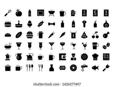 Cafeteria glyph icon symbol set