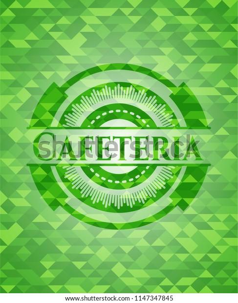 Cafeteria green emblem. Mosaic background