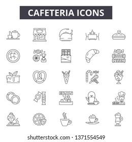 Cafeteria line icons, signs set, vector. Cafeteria outline concept, illustration: cafeteria,cafe,breakfast,restaurant,menu,food