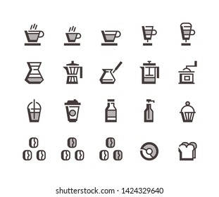 caffe, icons set, coffee, vector, icon, pictograms, take away, cup, food and coffee, drinks, cupcake, only coffee, mug