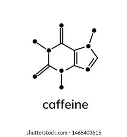Caffeine chemical formula on white background