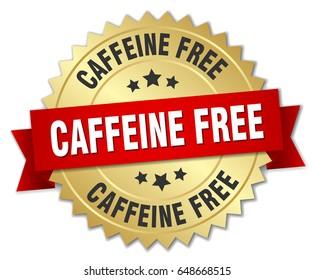 caffeine free round isolated gold badge