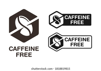 Caffeine free stamp (ingredient marking for packaging) - crossed out coffee bean in hexagon shape