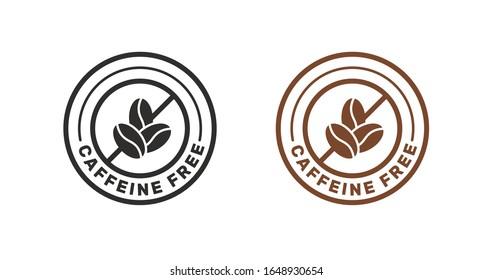 Caffeine Free sticker sign vector design.