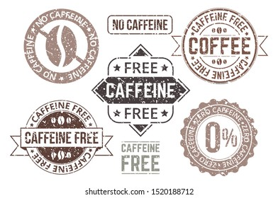 Caffeine free tags and grunge labels set vector illustration. Collection of coffee sign in black and white versions with stamps, text decaffeinated hot beverages flat style concept. Isolated on white
