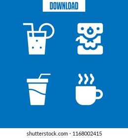 caffeine icon. 4 caffeine vector set. soft drink, soda, coffee and coffee maker icons for web and design about caffeine theme