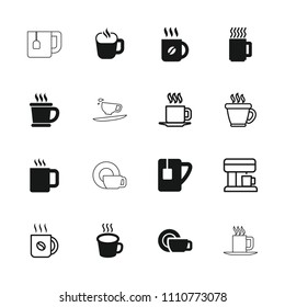 Caffeine icon. collection of 16 caffeine filled and outline icons such as coffee, tea cup, cup, mug, coffee machine, dish. editable caffeine icons for web and mobile.