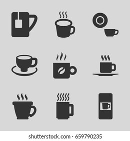 Caffeine icons set. set of 9 caffeine filled icons such as vending machine, coffee, dish, coffee cup, tea cup, cup