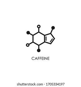 caffeine molecular structure. Good morning chemical formula.  Coffee, inspiration, motivation symbol.  Vector line illustration isolated on white