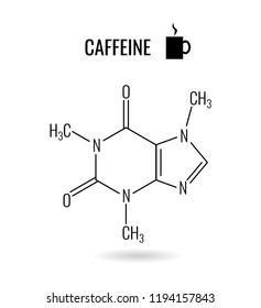 Caffeine molecule illustration. Black classic appearance of organic chemical compound on white background.