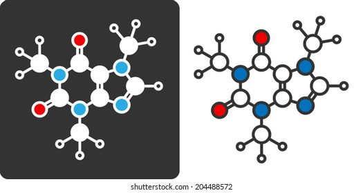 Caffeine stimulant molecule, flat icon style. Stylized rendering. Atoms shown as color-coded circles (oxygen - red, nitrogen - blue, carbon - large white, hydrogen - small white).