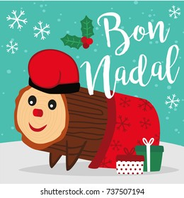 Caga Tio de Nadal, a typical Christmas character from Catalonia and Aragon, Spain. Vector illustration. Merry Christmas lettering written in catalan.