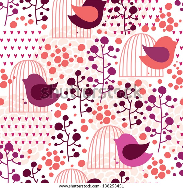 Cage and bird floral seamless pattern