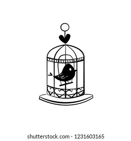 Cage bird icon vector symbol isolated. Vector illustration. Vector icon illustration isolated on white background.