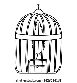 cage bird jail with feather