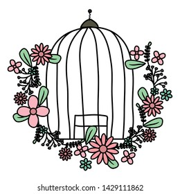cage bird jail with floral decoration