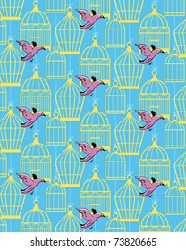 cage and bird pattern