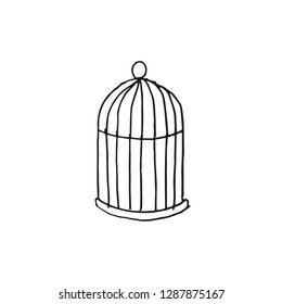cage for bird vector doodle sketch isolated on white background