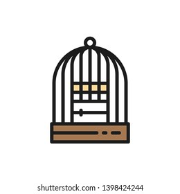 Cage for birds flat color icon.