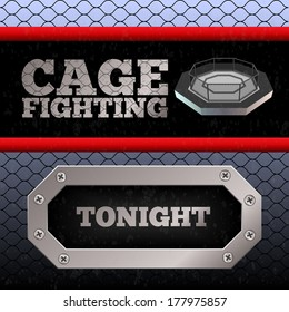 Cage Fighting. MMA Poster. Banner. Vector illustration