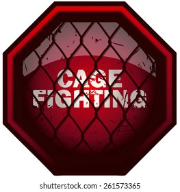 Cage Fighting Octagon Sign, Vector Illustration isolated on White Background.