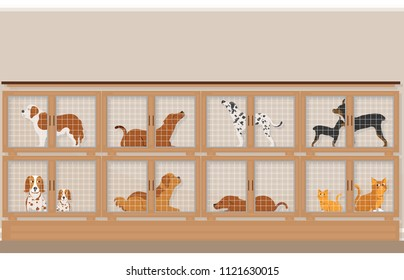Cages of dogs and cats for sale in pet store, pet shop conceptual vector illustration.