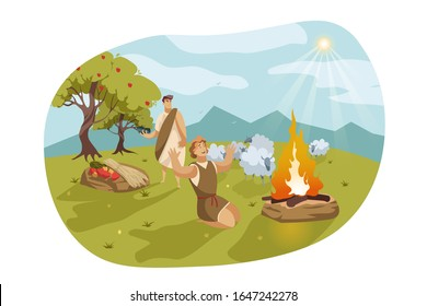 Cain and Abel, Bible concept. Jealous and envious Cain is going to murder Abel. God favored Abels sacrifice instead of Cains. Biblical illustration of fratricide sin in cartoon style. Vector flat