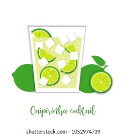 Caipirinha cocktail. Paper art style. Vector art and illustration. Digital craft