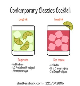 Caipirinha cocktail and sea breeze cocktail recipe